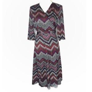 Kiyonna chevron pattern 3/4 sleeve wrap dress